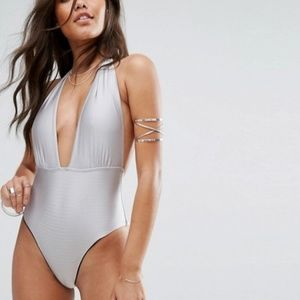 ASOS And Co Satin Rib Swimsuit Halter Plunge Tie